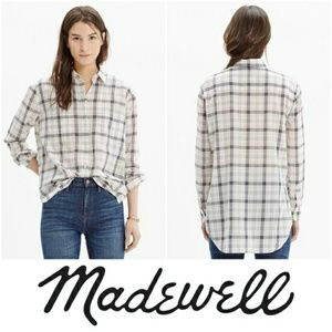 Madewell Pebble Plaid Oversized Boyfriend Shirt S